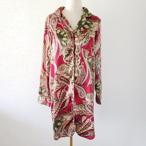 Small Red Satin Paisley Long Sleeve Button Dress